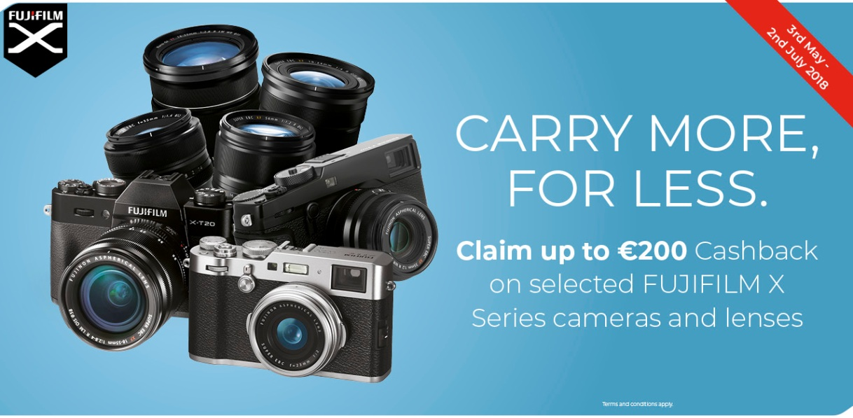 Claim up to €200 Cashback on selected FUJIFILM X Series cameras and lenses